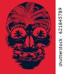 skull summer t shirt graphic... | Shutterstock .eps vector #621845789