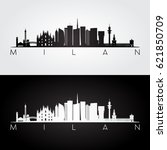 milan skyline and landmarks... | Shutterstock .eps vector #621850709