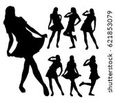 slim girls in skirts posing in... | Shutterstock .eps vector #621853079