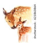 Stock photo mother and baby deer watercolor love family hand painted mother s day summer illustration isolated 621863864