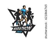 running marathon  emblem  logo.   Shutterstock .eps vector #621866765