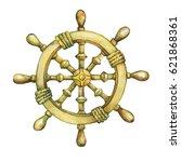 illustration of old sailboat...   Shutterstock . vector #621868361