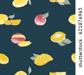 mango tree vintage seamless...   Shutterstock .eps vector #621876965