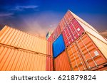 containers box from cargo... | Shutterstock . vector #621879824
