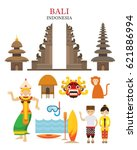 bali  indonesia landmarks and... | Shutterstock .eps vector #621886994