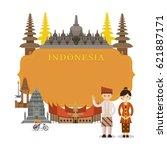 indonesia landmarks  people in... | Shutterstock .eps vector #621887171