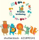 birthday card with cute animals ... | Shutterstock .eps vector #621890141