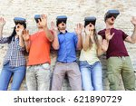 young students wearing virtual... | Shutterstock . vector #621890729