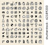 100 hand draw web icons | Shutterstock .eps vector #62189203