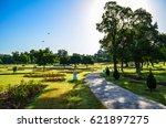 Stock photo flying high a morning view of zakir rose garden chandigarh 621897275