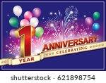 anniversary card 1 yearsold... | Shutterstock .eps vector #621898754