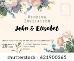 wedding invitation card with... | Shutterstock .eps vector #621900365