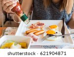 woman eat breakfast  she... | Shutterstock . vector #621904871