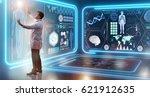 man doctor in futuristic... | Shutterstock . vector #621912635