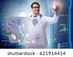 young male doctor in futuristic ... | Shutterstock . vector #621914414