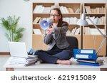 businesswoman with loudspeaker...   Shutterstock . vector #621915089