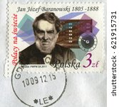 Small photo of GOMEL, BELARUS, APRIL 16, 2017. Stamp printed in Poland shows image of Jan Jozef Baranowski is a Polish economist and financier, nobleman, linguist, engineer and eminent inventor, circa 2011.