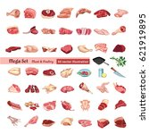 colored poultry and meat...   Shutterstock .eps vector #621919895