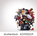 big heap of different clothes... | Shutterstock . vector #621920219