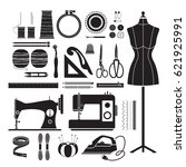 sewing kit icons set ... | Shutterstock .eps vector #621925991