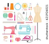sewing kit icons set ... | Shutterstock .eps vector #621926021
