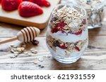 healthy breakfast with granola  ... | Shutterstock . vector #621931559