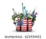 usa  vintage suitcase with... | Shutterstock . vector #621934421