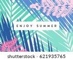 typographic summer design with... | Shutterstock .eps vector #621935765