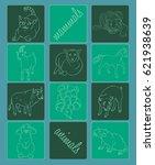 bull  cat   goat  horse   pig ... | Shutterstock .eps vector #621938639