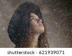 hipster girl in hat  studio   Shutterstock . vector #621939071