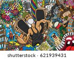 music collage on a large brick...   Shutterstock .eps vector #621939431