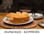 homemade ginger cake with cream ... | Shutterstock . vector #621940181