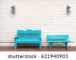 Two Light Blue Wooden Bench An...