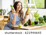 beautiful woman sitting with... | Shutterstock . vector #621944645