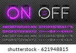 big purple neon set glowing... | Shutterstock .eps vector #621948815