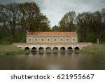 weir at almelo norhorn canal... | Shutterstock . vector #621955667
