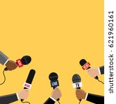 journalists with many mic... | Shutterstock .eps vector #621960161