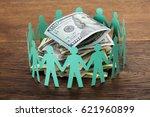 crowdfunding concept. paper cut ... | Shutterstock . vector #621960899