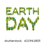 earth day. lettering and forest.... | Shutterstock .eps vector #621961805