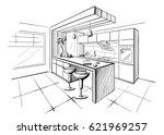 interior sketch of modern... | Shutterstock .eps vector #621969257
