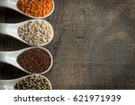top view of a variety of grains ... | Shutterstock . vector #621971939