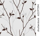 Seamless pattern with leaves silhouette. Nature background with tree branches. Vector  seamless wallpaper with decorative twigs