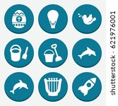set of 9 cartoon filled icons... | Shutterstock .eps vector #621976001