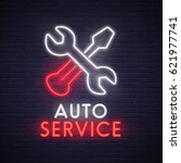 auto service sign  bright... | Shutterstock .eps vector #621977741