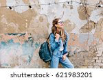stylish hipster girl in the... | Shutterstock . vector #621983201