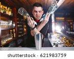 bartender pouring fresh... | Shutterstock . vector #621983759
