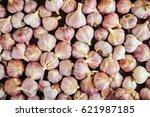 Close Up Garlic Bulbs And...