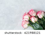 Pink Roses On Bright Gray...