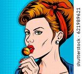 woman with lollipop candy pop... | Shutterstock . vector #621989621