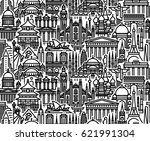 seamless pattern with cityscape ... | Shutterstock .eps vector #621991304
